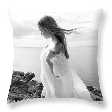 Girl In A White Dress By The Sea Throw Pillow