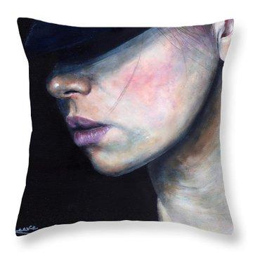 Girl In Black Hat Throw Pillow