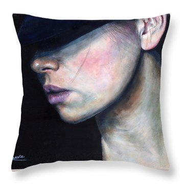 Throw Pillow featuring the painting Girl In Black Hat by John Neeve