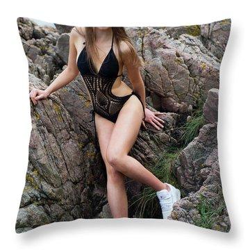 Girl In Black Swimsuit Throw Pillow