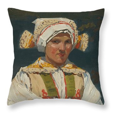 Girl In Costume, Antos Frolka, 1910 Throw Pillow