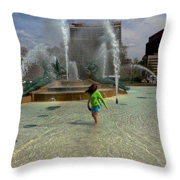 Girl In Fountain Throw Pillow