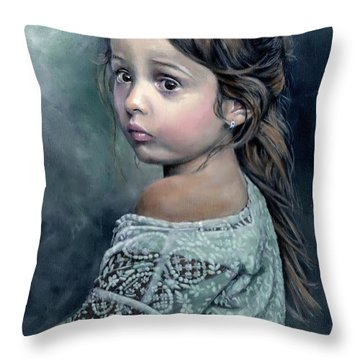 Girl In Lace Throw Pillow