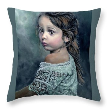 Throw Pillow featuring the painting Girl In Lace by John Neeve