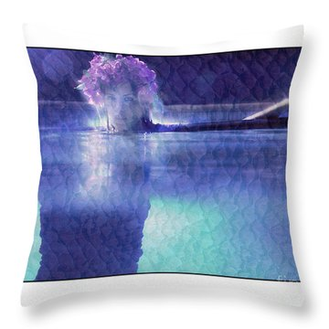 Girl In Pool At Night Throw Pillow by Michael Edwards