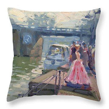 Girl In Prime Gown Striking A Pose Throw Pillow