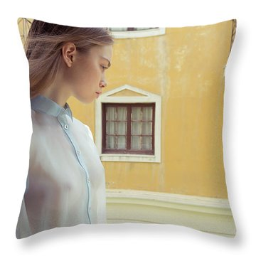 Girl In Profile Throw Pillow