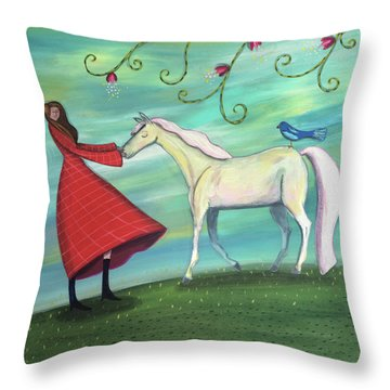 Throw Pillow featuring the painting Girl In Red With White Pony by Marti McGinnis