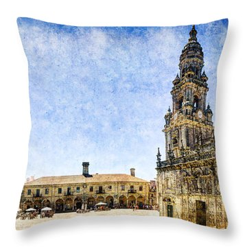 Girl In Santiago - Vintage Version Throw Pillow