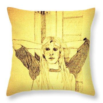 Girl In School Lunch Room Throw Pillow by Sheri Buchheit