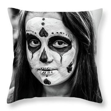 Throw Pillow featuring the photograph Girl In Skull Facepaint by John Williams