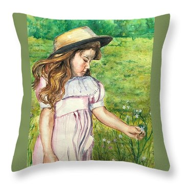 Girl In Straw Hat Throw Pillow