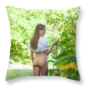 Girl In Swedish Garden Throw Pillow