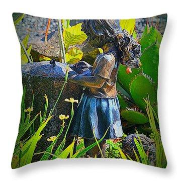 Throw Pillow featuring the photograph Girl In The Garden by Lori Seaman