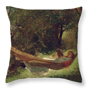Girl In The Hammock Throw Pillow by Winslow Homer
