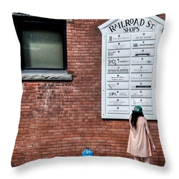 Walking On Railroad Street No. 3 - The Girl In The Polka Dot Dress Throw Pillow
