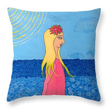 Girl In The Water Throw Pillow