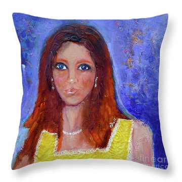 Throw Pillow featuring the painting Girl In Yellow Dress by Claire Bull