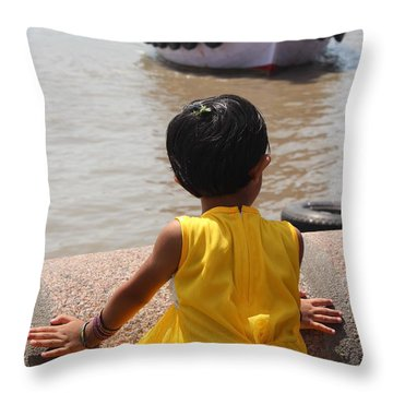 Girl In Yellow Dress W/leaf In Hair Looking At Boats Throw Pillow