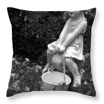 Throw Pillow featuring the photograph Girl On A Mushroom by Sandi OReilly