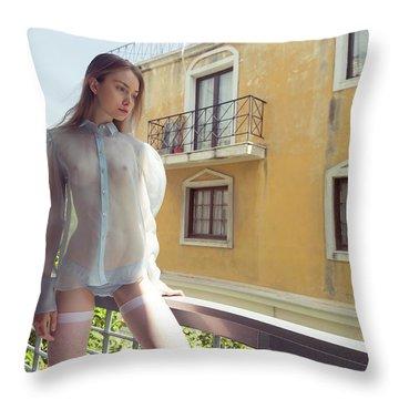 Girl On Balcony Throw Pillow