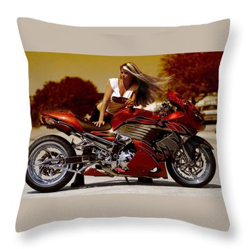 Girl On Fire Throw Pillow by Lawrence Christopher