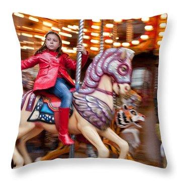 Girl On Merry Go Round Throw Pillow