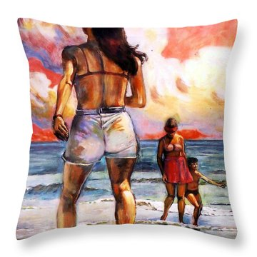 Girl On The Beach Throw Pillow by Stan Esson