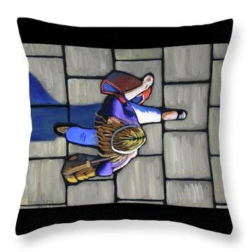 Girl Overhead Walking Throw Pillow