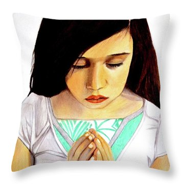 Girl Praying Drawing Portrait By Saribelle Throw Pillow by Saribelle Rodriguez
