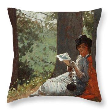 Girl Reading Under An Oak Tree Throw Pillow