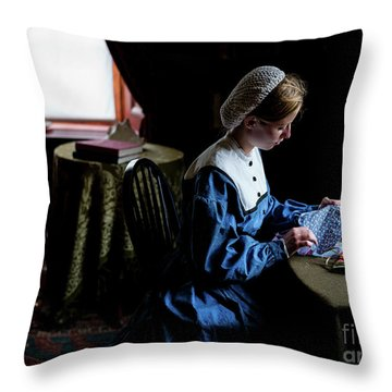 Girl Sewing Throw Pillow