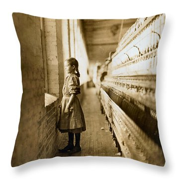 Girl Spinner 11 Years Old Rhodes Manufacturing Co Lincolnton 1908 Throw Pillow