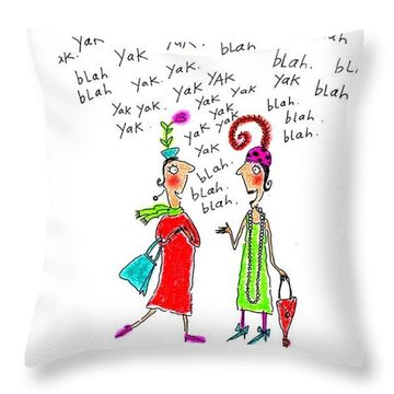 Girl Talk Throw Pillow by Karon Melillo DeVega
