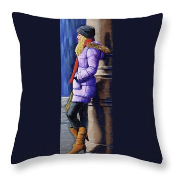 Girl Waiting Throw Pillow