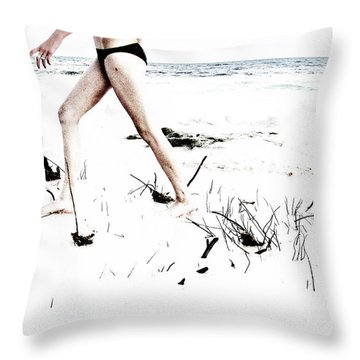 Girl Walking On Beach Throw Pillow