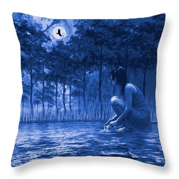 Girl Washing At The River Throw Pillow by Diane Schuster