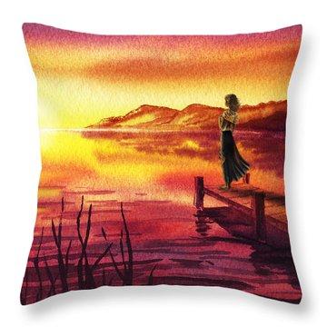 Throw Pillow featuring the painting Girl Watching Sunset At The Lake by Irina Sztukowski
