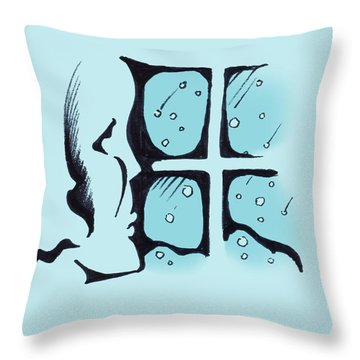Throw Pillow featuring the drawing Girl Watching The Snow by Keith A Link