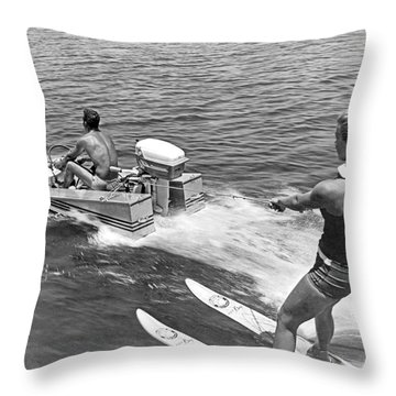 Girl Water Skiing Throw Pillow