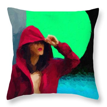 Throw Pillow featuring the digital art Girl Wearing A Maroon Hoodie by Serge Averbukh