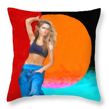 Throw Pillow featuring the digital art Girl Wearing Blue Jeans by Serge Averbukh