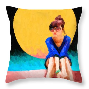 Throw Pillow featuring the digital art Girl Wearing Teal Sneakers by Serge Averbukh