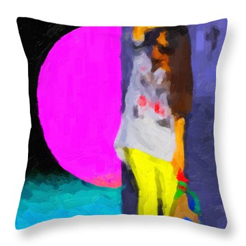 Throw Pillow featuring the digital art Girl Wearing Yellow Jeans by Serge Averbukh