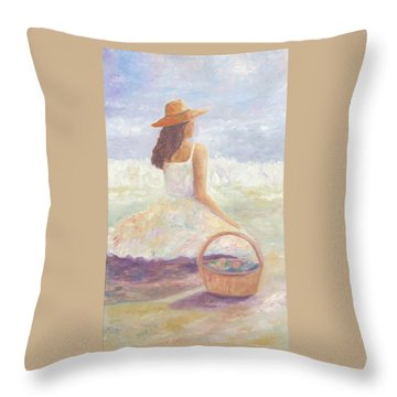 Girl With A Basket Throw Pillow