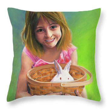 Girl With A Bunny Throw Pillow