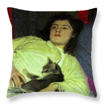 Girl With A Cat 1882 Throw Pillow