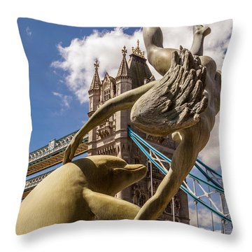 Girl With A Dolphin Fountain Throw Pillow
