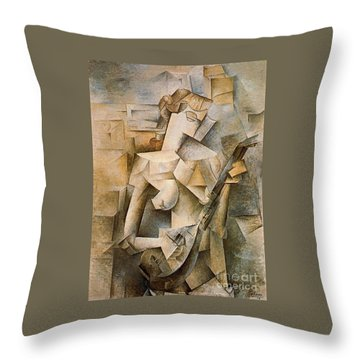 Girl With A Mandolin Throw Pillow by Picasso