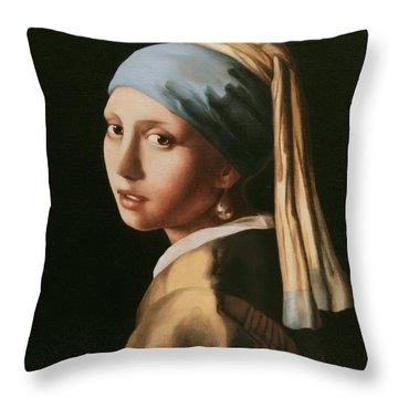 Girl With A Pearl Earring - After Vermeer Throw Pillow
